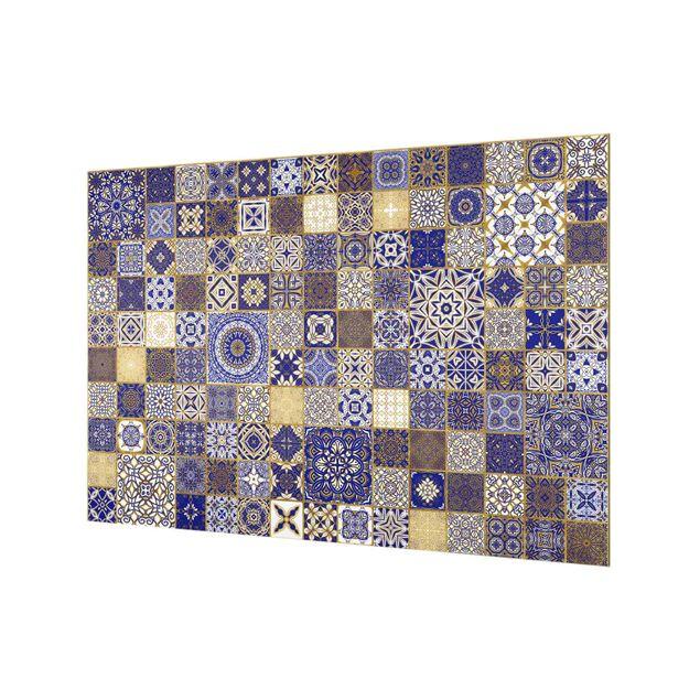 Spritzschutz Glas - Orientalische Fliesen Blau mit Goldschimmer - Querformat 3:2