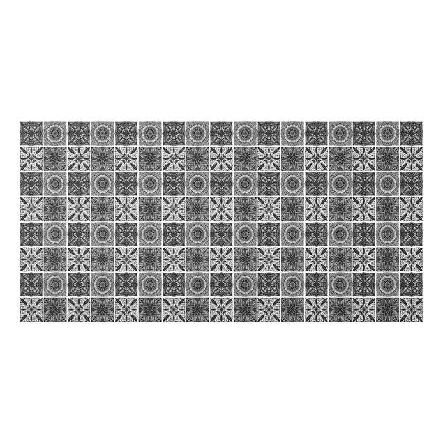 Spritzschutz Glas - Orientalischer Mandala Mustermix in Schwarz mit Glitzeroptik - Querformat 2:1