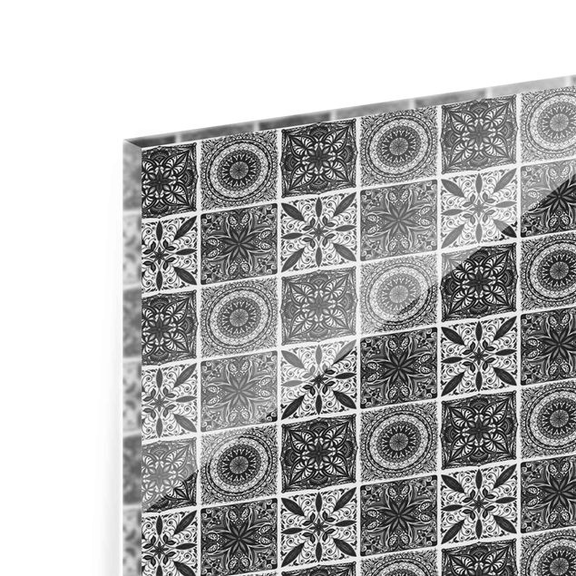 Spritzschutz Glas - Orientalischer Mandala Mustermix in Schwarz mit Glitzeroptik - Panorama 5:2