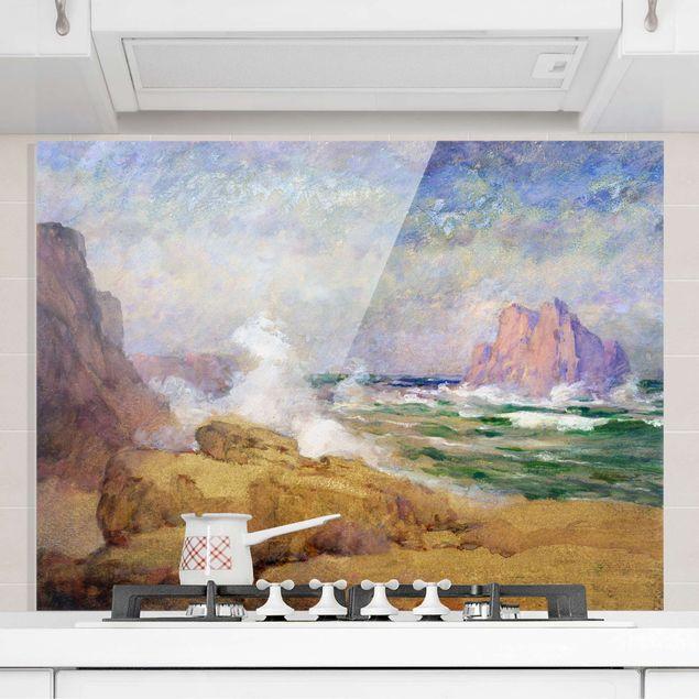 Spritzschutz Glas - Ozean an der Bucht Malerei - Querformat 4:3