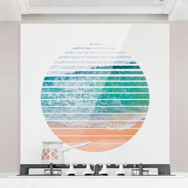 Spritzschutz Glas - Ozean im Kreis - Quadrat 1:1