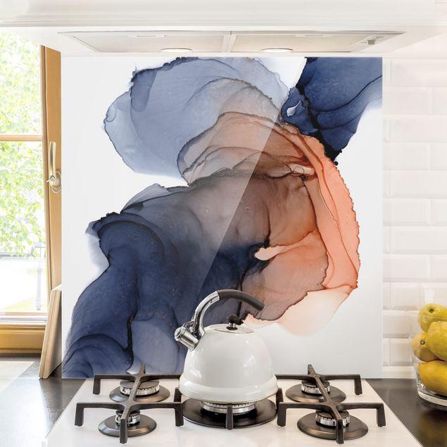 Spritzschutz Glas - Ozeantropfen Blau-Orange mit Gold - Quadrat 1:1