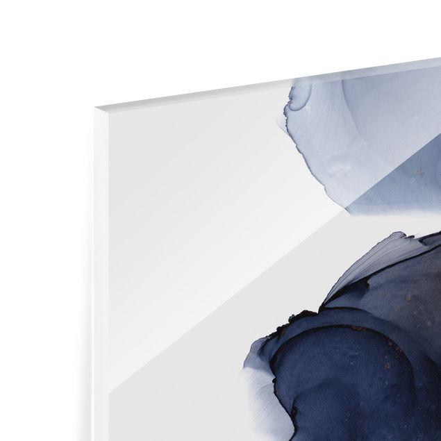 Spritzschutz Glas - Ozeantropfen Blau-Orange mit Gold - Querformat 2:1