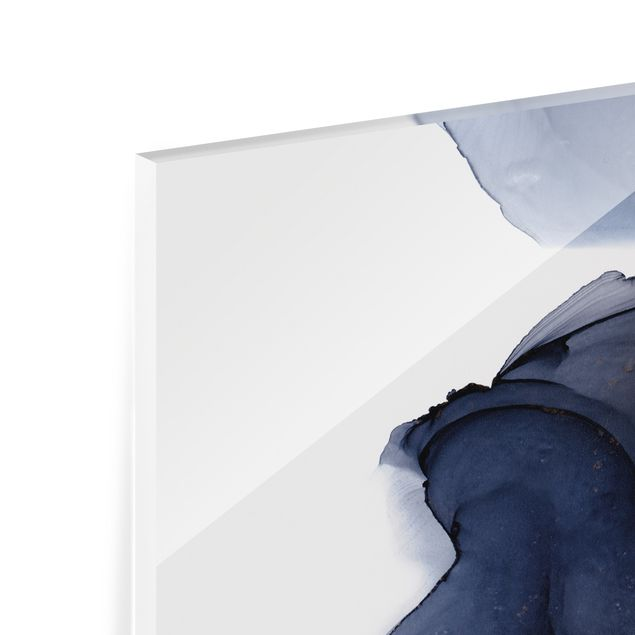 Spritzschutz Glas - Ozeantropfen Blau-Orange mit Gold - Panorama 5:2