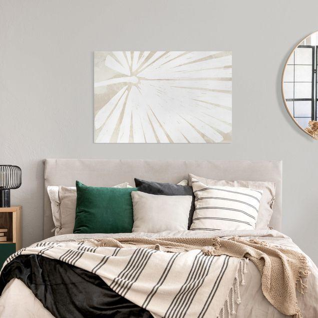 Leinwandbild - Palmenblatt Silhouette auf Leinen - Querformat 3:2
