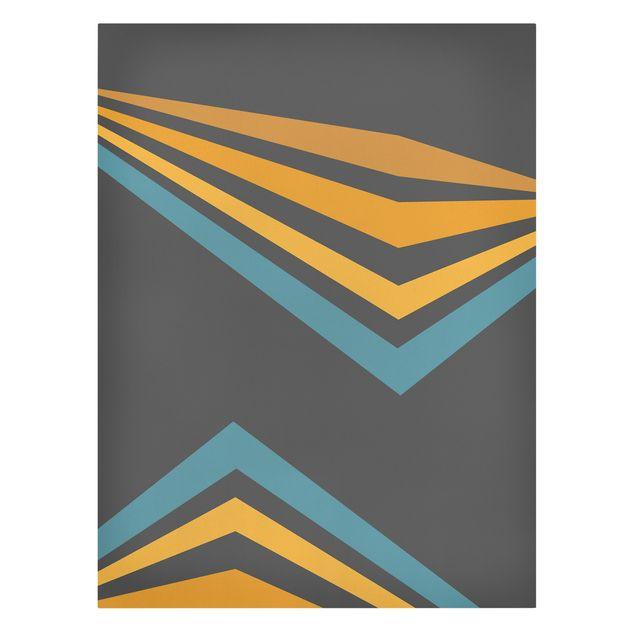 Leinwandbild - Parallelecken in Gelb und Blau - Hochformat 3:4