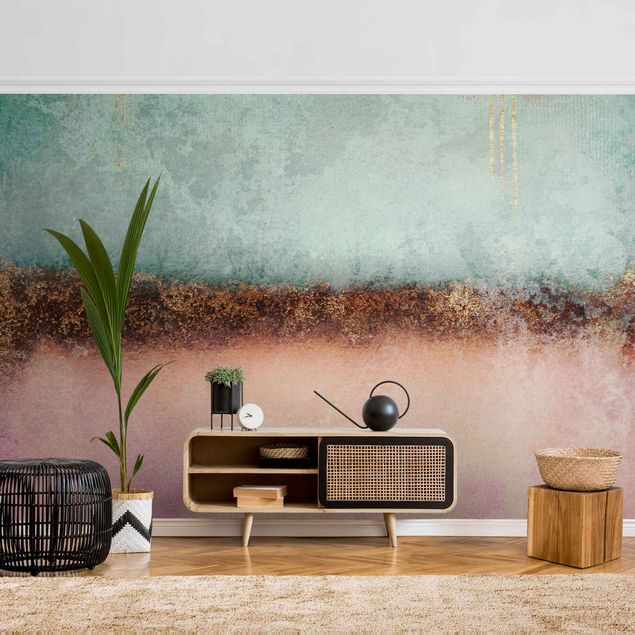 Metallic Tapete - Pastell Sommer mit Gold