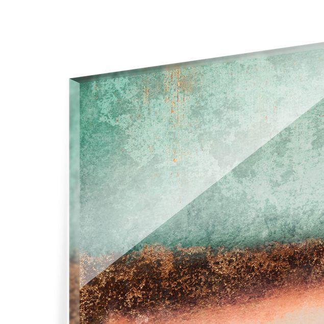 Spritzschutz Glas - Pastell Sommer mit Gold - Querformat 4:3