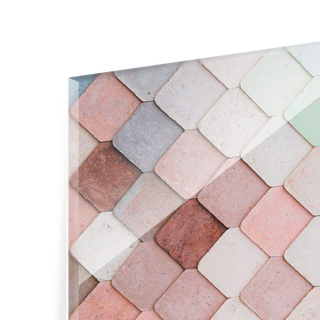 Spritzschutz Glas - Pastellfarbene Fischschuppen aus Stein - Quadrat 1:1