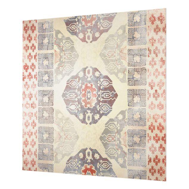 Spritzschutz Glas - Persisches Vintage Muster in Indigo - Quadrat 1:1
