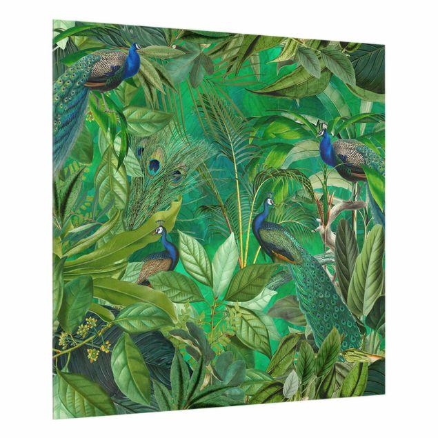 Spritzschutz Glas - Pfauen im Dschungel - Quadrat 1:1