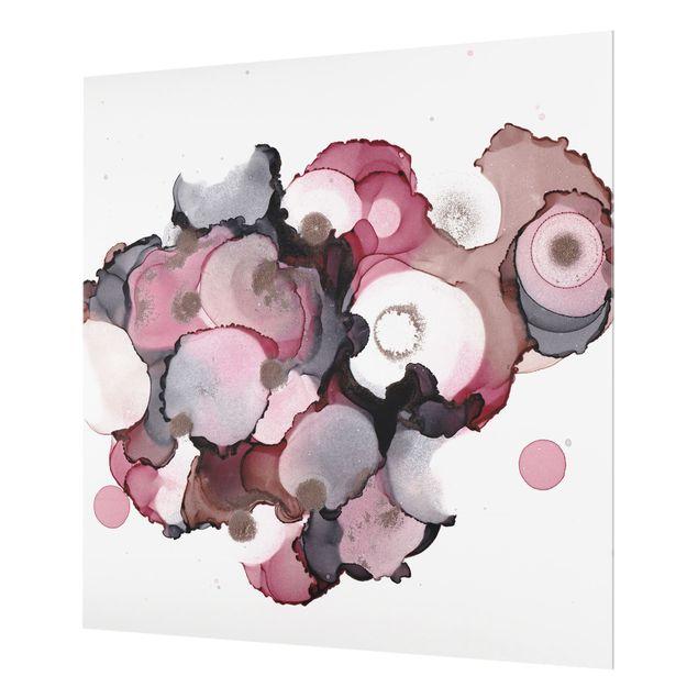 Spritzschutz Glas - Pink-Beige Tropfen mit Roségold - Quadrat 1:1