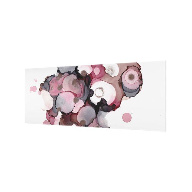 Spritzschutz Glas - Pink-Beige Tropfen mit Roségold - Panorama 5:2