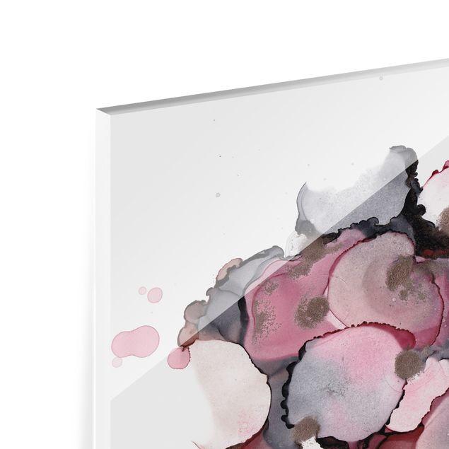 Spritzschutz Glas - Pink-Beige Tropfen mit Roségold - Querformat 4:3