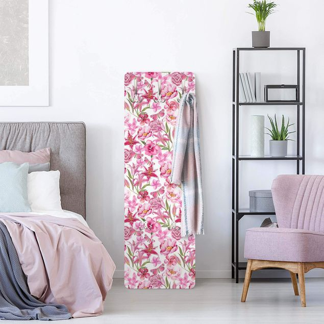Garderobe - Pinke Blumen mit Schmetterlingen