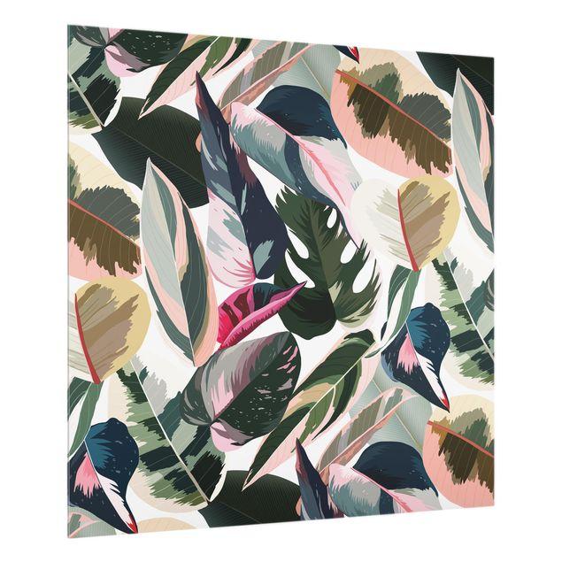 Spritzschutz Glas - Pinke Tropen Muster XXL - Quadrat 1:1