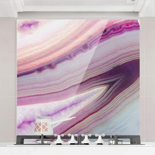 Spritzschutz Glas - Pinker Kristall Planet - Quadrat 1:1