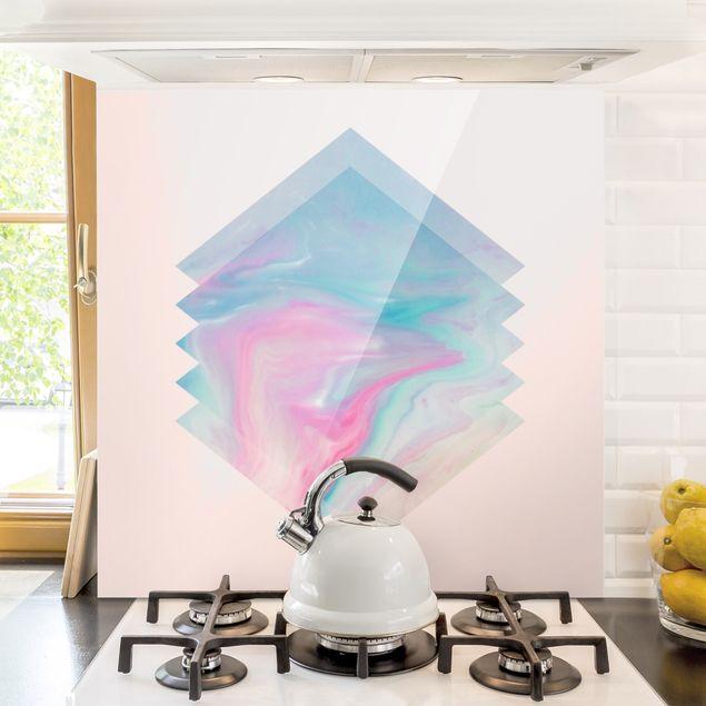 Spritzschutz Glas - Pinkes Wasser Marmor - Quadrat 1:1