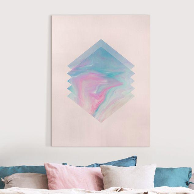 Leinwandbild - Pinkes Wasser Marmor - Hochformat 3:4