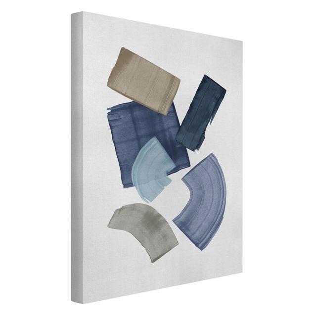 Leinwandbild - Pinselblöcke in Blau und Braun - Hochformat 2:3