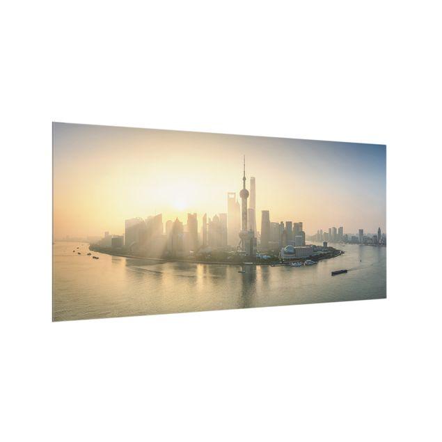Spritzschutz Glas - Pudong bei Sonnenaufgang - Querformat 2:1