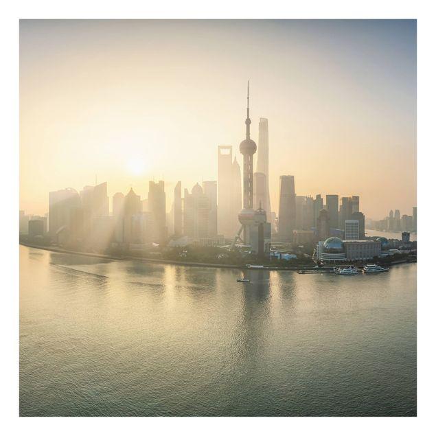 Spritzschutz Glas - Pudong bei Sonnenaufgang - Quadrat 1:1