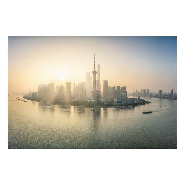Spritzschutz Glas - Pudong bei Sonnenaufgang - Querformat 3:2