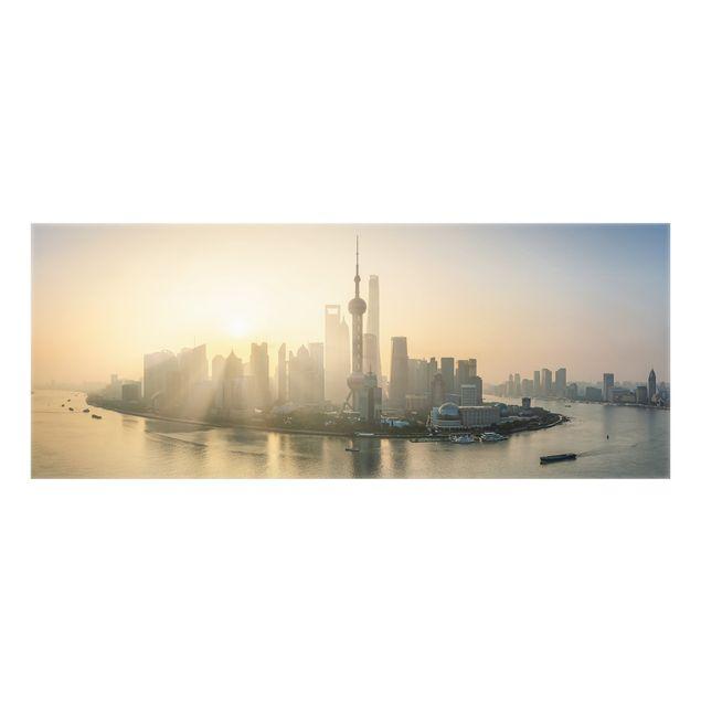 Spritzschutz Glas - Pudong bei Sonnenaufgang - Panorama 5:2