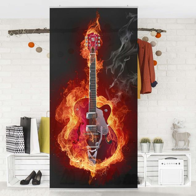 Raumteiler - Gitarre in Flammen 250x120cm