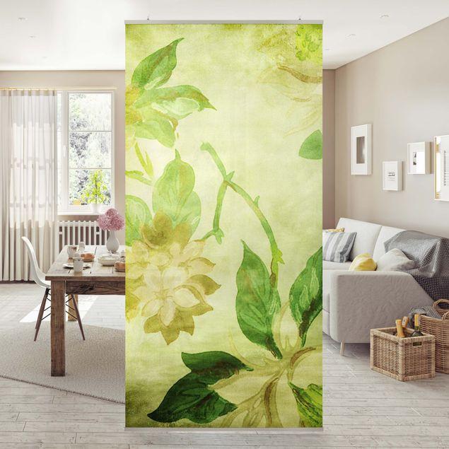Raumteiler - Green Blossoms 250x120cm
