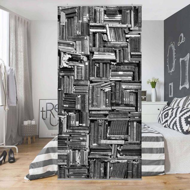 Raumteiler - Shabby Bücherwand schwarz weiß 250x120cm