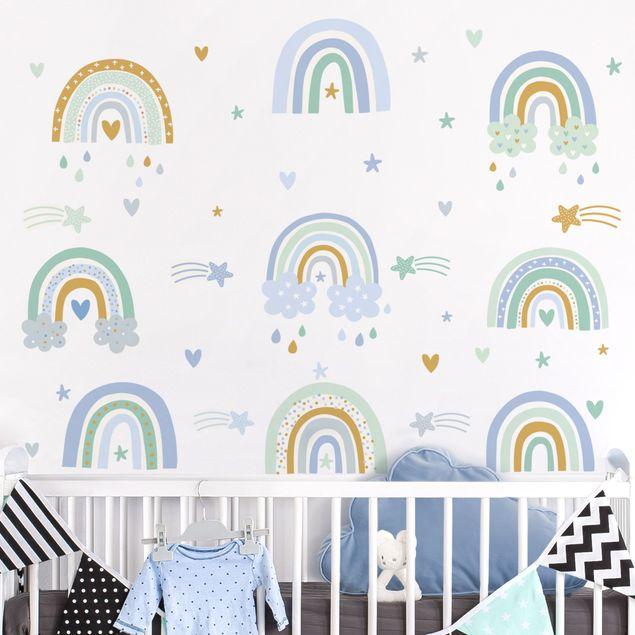 Wandtattoo mehrfarbig - Regenbögen Blau Türkis Set