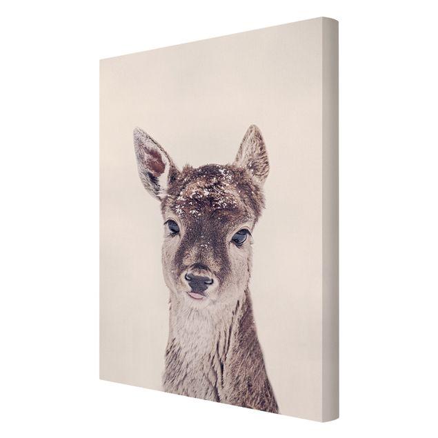Leinwandbild - Reh Kitz Portrait - Hochformat 2:3