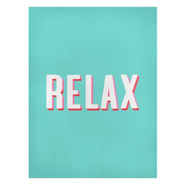 Leinwandbild - Relax Typo auf Blau - Hochformat 3:4