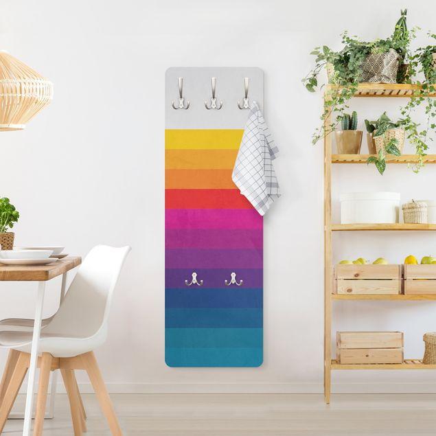 Garderobe - Retro Regenbogen Streifen