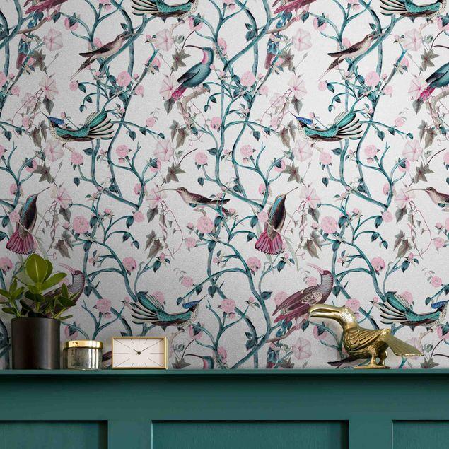Metallic Tapete  - Rosa Blumenranken mit Vögeln in Blau