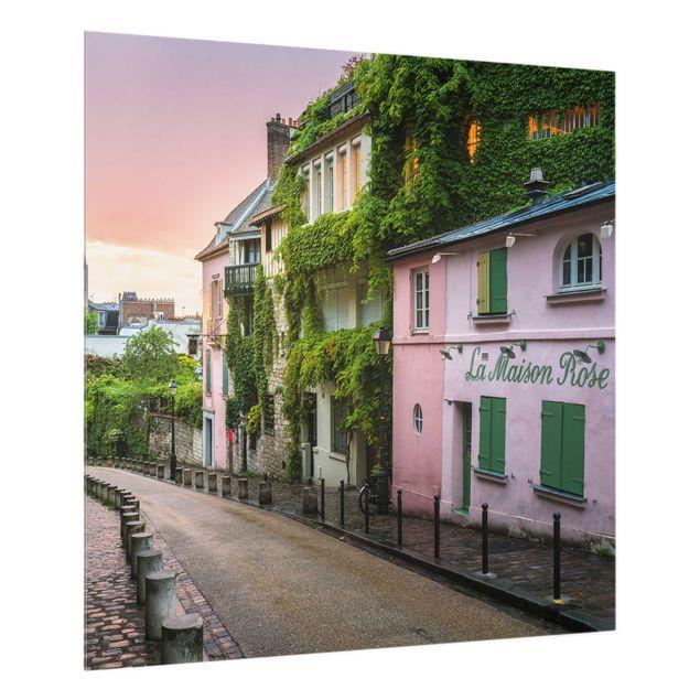 Spritzschutz Glas - Rosa Dämmerung in Paris - Quadrat 1:1