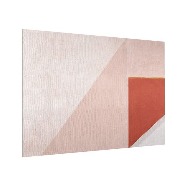 Spritzschutz Glas - Rosa Geometrie - Querformat 4:3