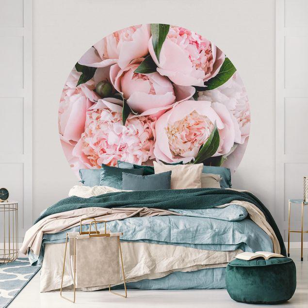 Runde Tapete selbstklebend - Rosa Pfingstrosen mit Blättern