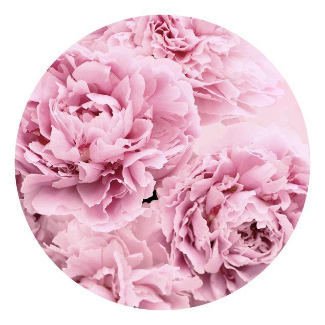 Runde Tapete selbstklebend - Rosa Pfingstrosen