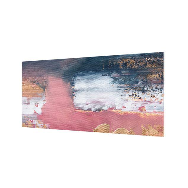 Spritzschutz Glas - Rosa Sturm mit Gold - Querformat 2:1