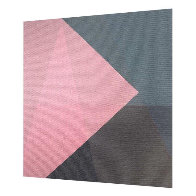 Spritzschutz Glas - Rosa Transparenz Geometrie - Quadrat 1:1