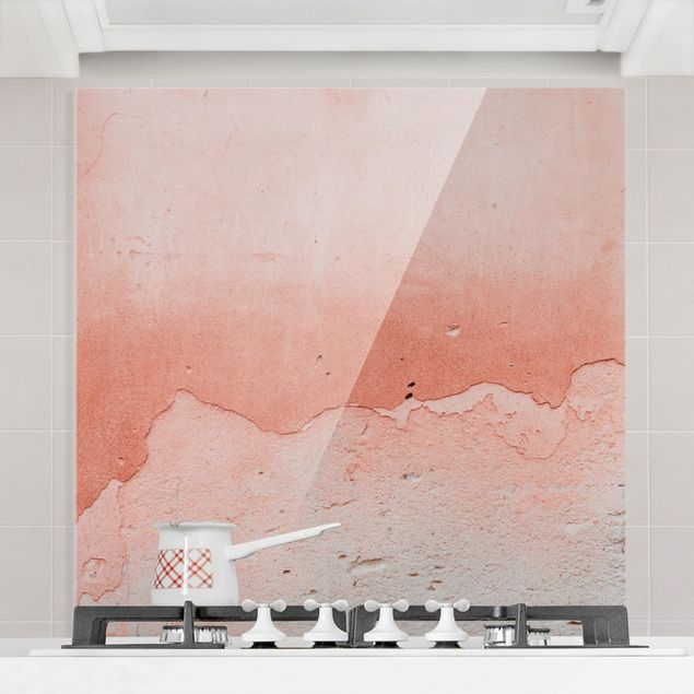 Spritzschutz Glas - Rosaner Beton im Shabbylook - Quadrat 1:1