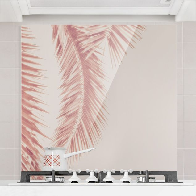 Spritzschutz Glas - Rosegoldene Palmenblätter - Quadrat 1:1