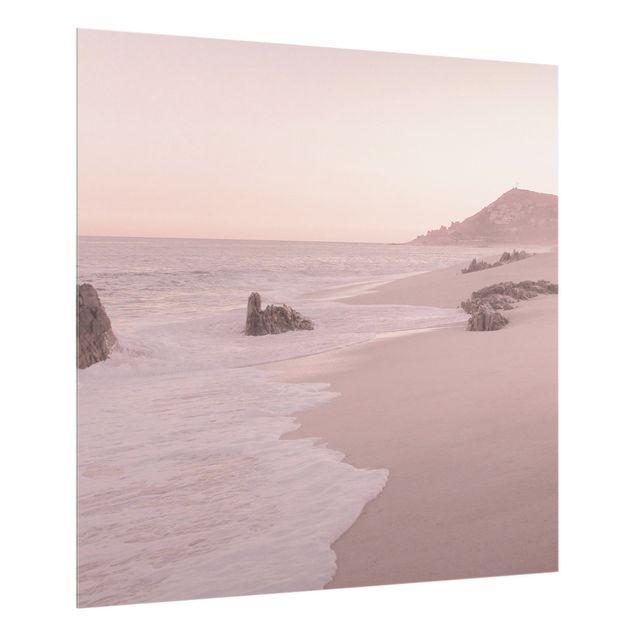 Spritzschutz Glas - Roségoldener Strand - Quadrat 1:1