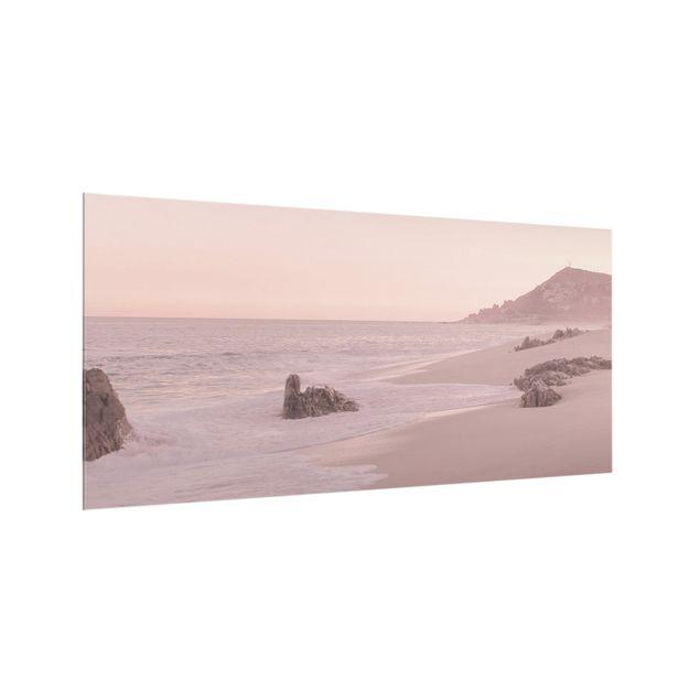 Spritzschutz Glas - Roségoldener Strand - Querformat 2:1