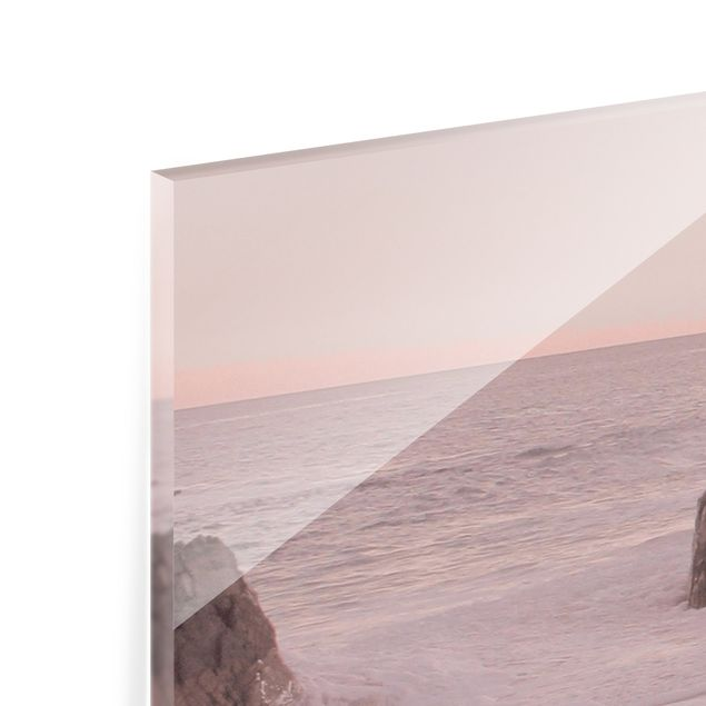 Spritzschutz Glas - Roségoldener Strand - Panorama 5:2