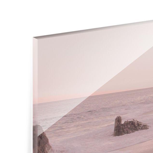 Spritzschutz Glas - Roségoldener Strand - Querformat 4:3