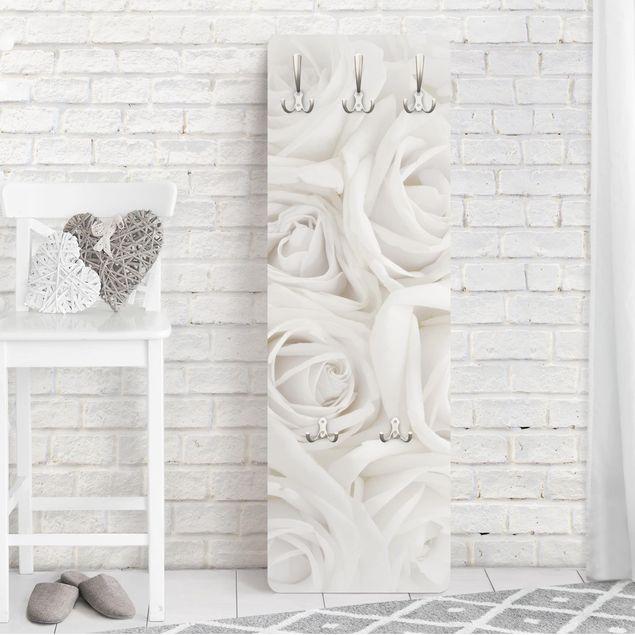 Rosen Garderoben - Blumenmotiv Weiße Rosen - Landhaus Weiß
