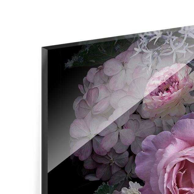 Spritzschutz Glas - Rosentraum Bouquet - Quadrat 1:1